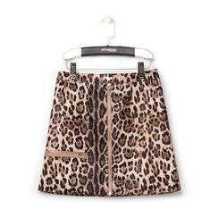 Minigonna leopard in eco-pelle con zip,
