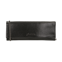Pochette piatta nera in eco-pelle snake print, Primadonna, 145122510PTNEROUNI, 001 preview