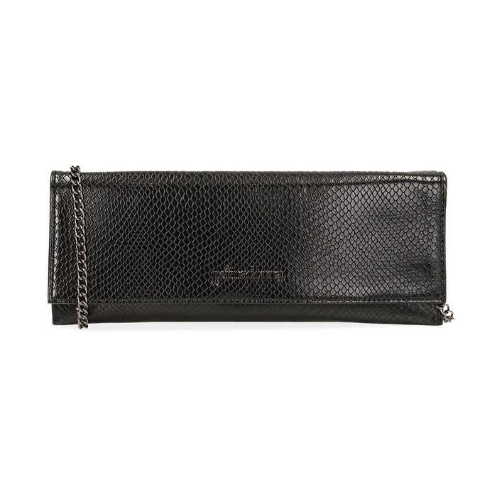 Pochette piatta nera in eco-pelle snake print, Primadonna, 145122510PTNEROUNI