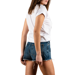 T-shirt blanc en coton avec imprimé, Vêtements, 15I700434TSBIANL, 002 preview