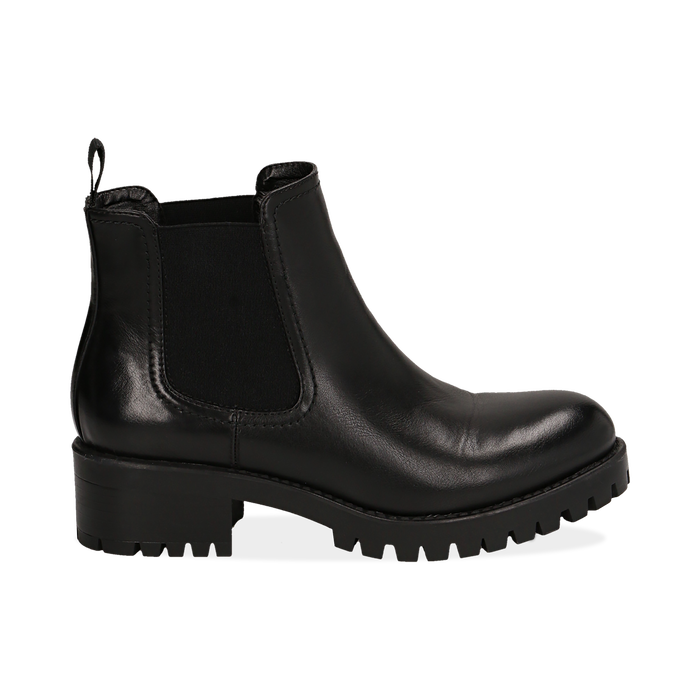 watch c7af5 495ed Chelsea boots neri in eco-pelle, tacco 4,5 cm