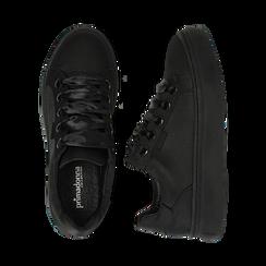 Sneakers nere in tessuto, suola 4 cm, Scarpe, 142509512TSNERO036, 003 preview