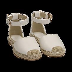 Espadrillas bianche in eco-pelle con cinturino, Primadonna, 154905188EPBIAN035, 002 preview