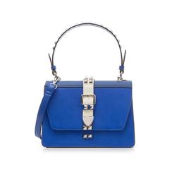 Borsa media blu in eco-pelle con borchie,