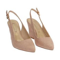 Slingback nude de microfibra, tacón 8,50 cm, Zapatos, 172183402MFNUDE037, 002 preview
