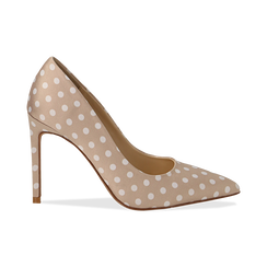 Décolleté nude in raso a pois bianchi, tacco 10,5 cm, Scarpe, 132166025RSNUDE035, 001 preview