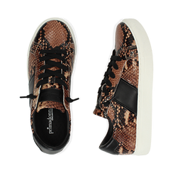 Sneakers marron imprimé python, Primadonna, 162619071PTMARR036, 003 preview
