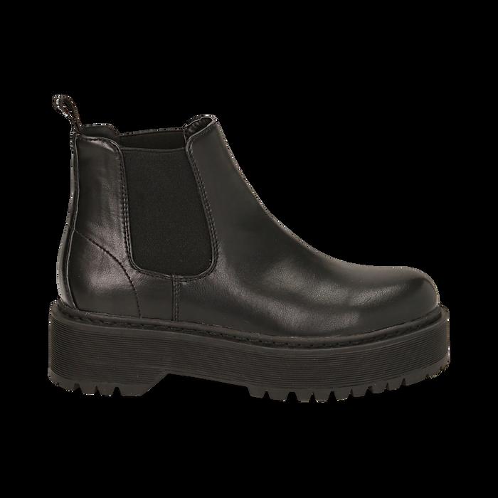 Chelsea boots neri, platform 5 cm , Primadonna, 160619239EPNERO035