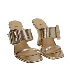Sandali oro laminato, tacco 9 cm , 172183658LMOROG036, 002a