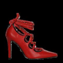Décolleté rosse con lacci sul collo del piede, tacco stiletto 10 cm, 122166011EPROSS036, 001a