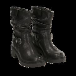 Biker boots neri in pelle con fibbia, Stivaletti, 147200635PENERO035, 002a