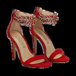 Sandali gioiello rossi in microfibra, tacco stiletto 10,5 cm, Scarpe, 132163151MFROSS035, 002a