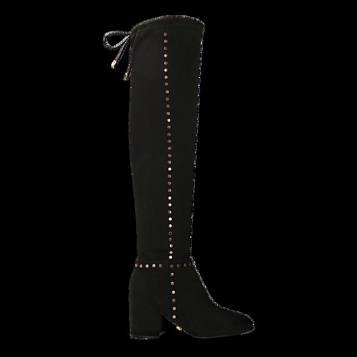 Stivali sopra il ginocchio neri mini-borchie oro, tacco 7,5 cm, Primadonna, 122181620MFNERO