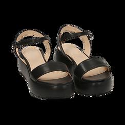 Sandali neri in eco-pelle, zeppa 5 cm , Zapatos, 159790131EPNERO038, 002 preview
