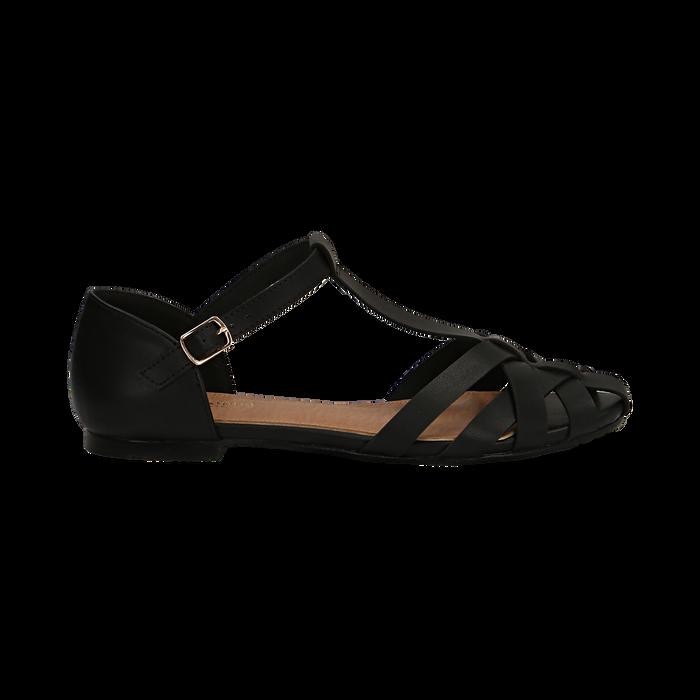 Sandali flat neri in eco-pelle con tomaia traforata, Scarpe, 134990781EPNERO041