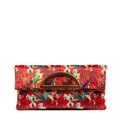 Pochette estensibile rossa in raso exotic print, Borse, 155108714RSROSSUNI, 001a