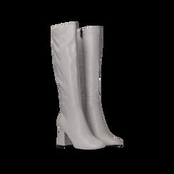 Stivali bianchi punta arrotondata, tacco 7,5 cm, Scarpe, 122182011EPBIAN036, 002