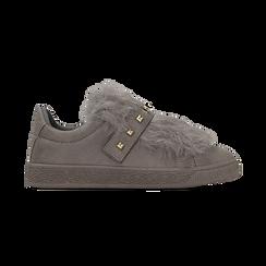 Sneakers grigie slip-on con dettagli faux-fur e borchie, Primadonna, 129300023MFGRIG038, 001 preview