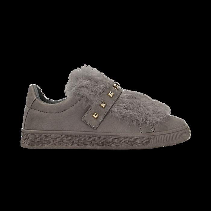Sneakers grigie slip-on con dettagli faux-fur e borchie, Primadonna, 129300023MFGRIG038