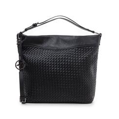 Hobo bag nera in eco-pelle intrecciata, Borse, 145700319EINEROUNI, 001 preview