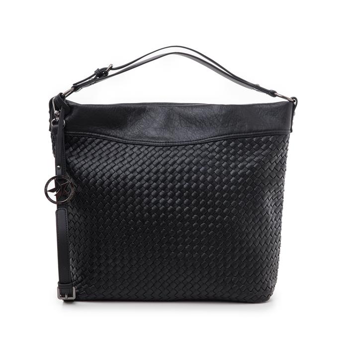 Hobo bag nera in eco-pelle intrecciata, Borse, 145700319EINEROUNI