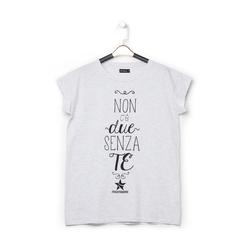 T-shirt bianca in tessuto con stampa nera minimal , Abbigliamento, 13I730077TSGRIGL, 001 preview