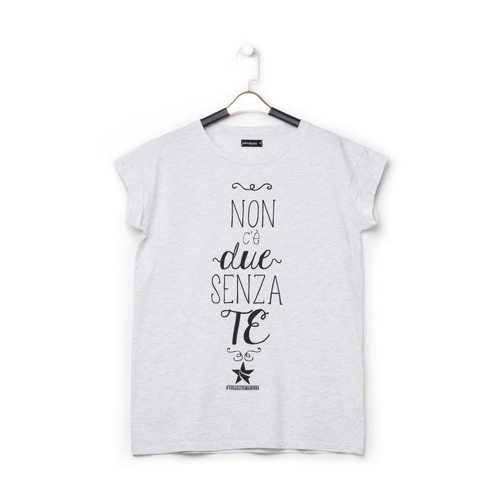 T-shirt bianca in tessuto con stampa nera minimal , Abbigliamento, 13I730077TSGRIGL