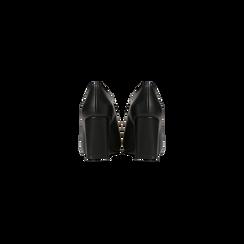 Tronchetti neri con oblò metallo, tacco 7 cm, Scarpe, 128405082EPNERO, 003 preview
