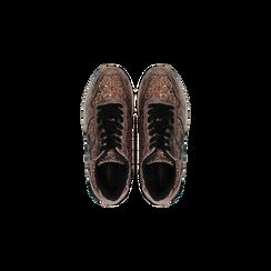 Sneakers bronzo dettagli glitter e metallizzati , Scarpe, 121308201GLBRON, 004 preview