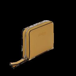 Portafoglio compatto giallo in eco-pelle, Borse, 133731344EPGIALUNI, 002a