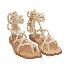 Sandalias de tejido color crema, Primadonna, 17A131482TSPANN035, 002 preview