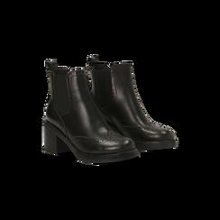 Chelsea Boots neri, tacco 3 cm, 120683012EPNERO035, 002