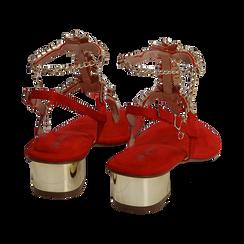 Sandalias en microfibra con pedrería color coral, tacón 3,5 cm , OPORTUNIDADES, 154927101MFCORA036, 004 preview