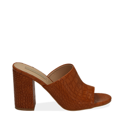 Mules cuoio in eco-pelle cocco print, tacco 9 cm , Chaussures, 152783430CCCUOI036, 001a