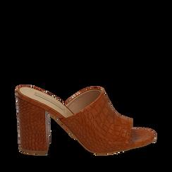 Mules cuoio in eco-pelle cocco print, tacco 9 cm , Zapatos, 152783430CCCUOI036, 001a