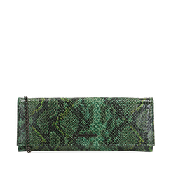 Pochette piatta verde in eco-pelle snake print, Primadonna, 145122510PTVERDUNI, 001a