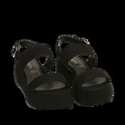 Sandali neri in microfibra, zeppa 5 cm , Zapatos, 159790136MFNERO036, 002a