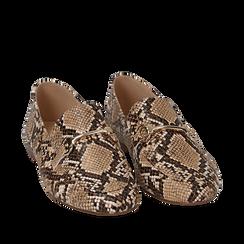 Mocassins beige simili cuir imprimés python, Chaussures, 154939181PTBEIG035, 002a