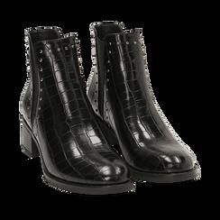 Botines Chelsea en color negro estampado coco, Primadonna, 160621232CCNERO035, 002a