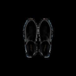 Chelsea Boots neri vernice con tacco basso, Scarpe, 120618208VENERO, 004 preview