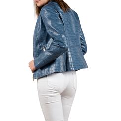 Biker jacket azzurra in eco-pelle cocco print, NUOVI ARRIVI, 156509104CCAZZUL, 002 preview