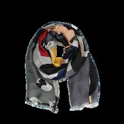 Pashmina grigia in tessuto con stampa Seventies, Abbigliamento, 14B491016TSGRIG3XL, 002a