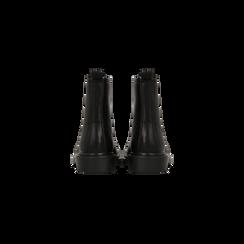 Anfibi neri con lacci, tacco basso, Scarpe, 122801501EPNERO, 003 preview