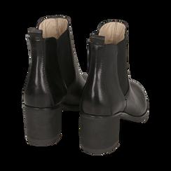 Chelsea boots neri in pelle, tacco 6 cm, Mid Season Sale, 157711439PENERO035, 004 preview
