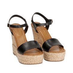 Sandalias negras, cuña 12 cm, 174986811EPNERO037, 002a