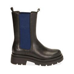 Chelsea boots noires/bleues, talon 5 cm , Primadonna, 180610101EPNEBL035, 001a