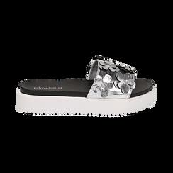 Zeppe argento in laminato con fiori 3D, Primadonna, 112066213LMARGE037, 001 preview