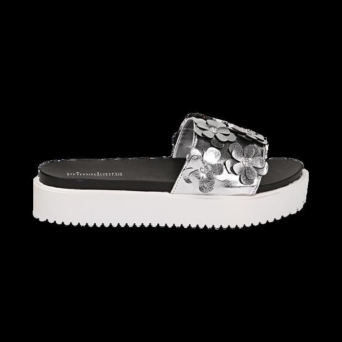 Zeppe argento in laminato con fiori 3D, Primadonna, 112066213LMARGE037