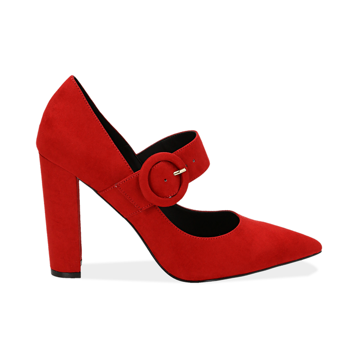 Décolleté Mary Jane a punta rosse in microfibra, tacco 10,50 cm , Scarpe, 141785493MFROSS035