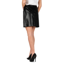 Minifalda en eco-piel con estampado de serpiente color negro, Primadonna, 156501201PTNEROM, 002a